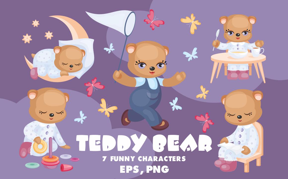 Teddy Bear Set. Vector Clip Arts