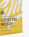 Matte Coffee Bag w/ a Tin-Tie Mockup - Halfside View