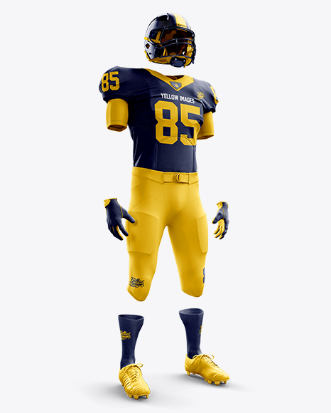 Download American Football Kit Mockup Halfside View In Apparel Mockups On Yellow Images Object Mockups PSD Mockup Templates