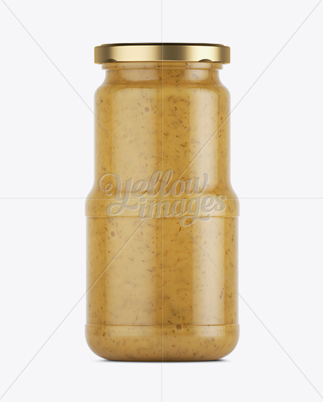 Glass Jar of Mustard Sauce Mockup