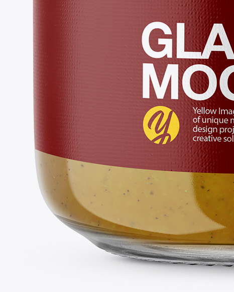 Glass Jar with Mustard Sauce Mockup - Front View