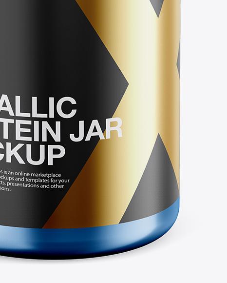 Metallic Protein Jar Mockup - Front View (High-Angle Shot)
