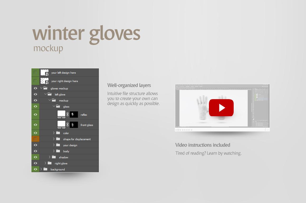 Winter Gloves Mockup