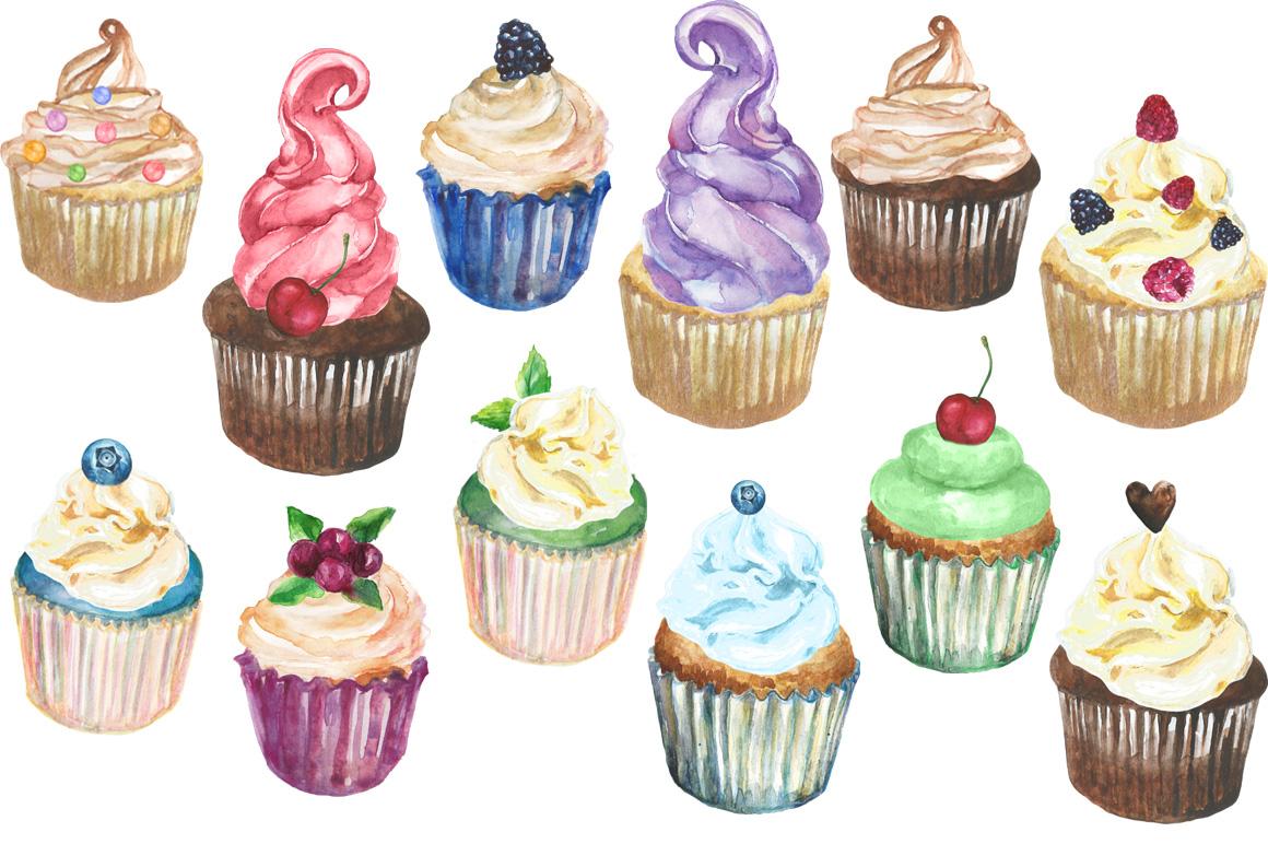 Cupcakes watercolor set