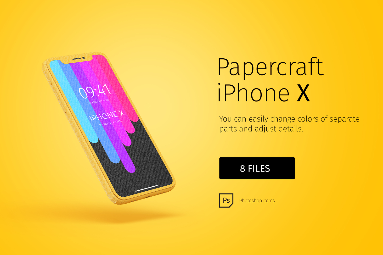 Papercraft iPhone X mockup
