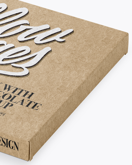 Kraft Chocolate Box Mockup - Half Side View (High-Angle Shot)