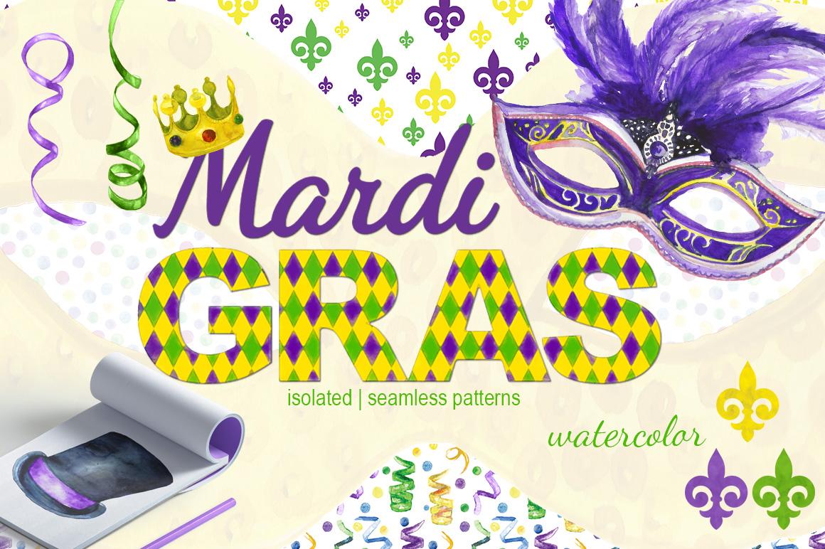 Mardi Gras watercolor set