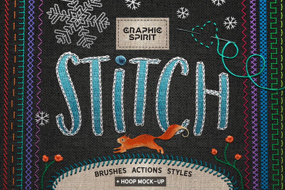 Ps STITCH: Brushes, Actions, Styles in Brushes on Yellow
