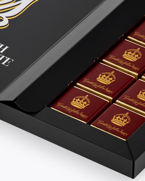 Opened Glossy Chocolate Box - Half Side View