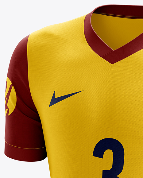 Men's Soccer V-Neck Jersey mockup (Half Side View)