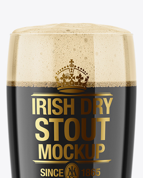 Willi Becher Glass with Irish Dry Stout Beer Mockup