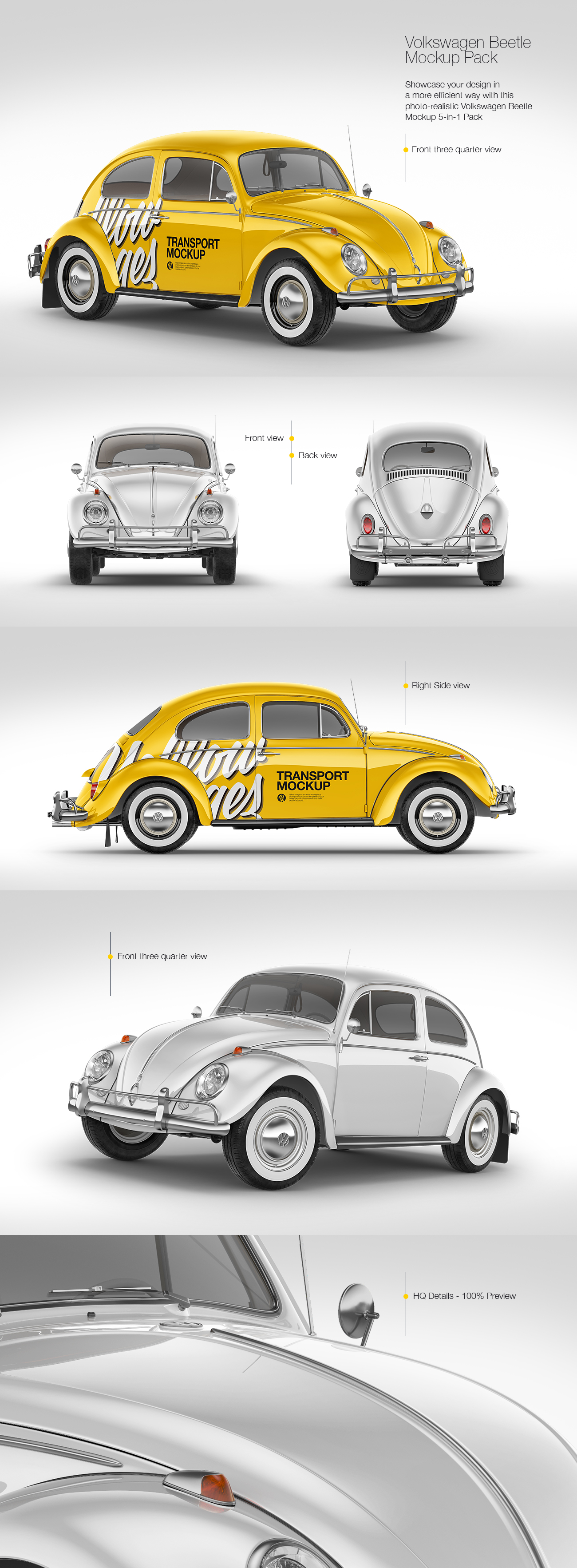 Download Volkswagen Beetle Mockup Pack In Handpicked Sets Of Vehicles On Yellow Images Creative Store PSD Mockup Templates