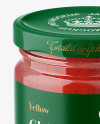 Glass Jar with Strawberry Marmalade Mockup - Front View (High Angle Shot)