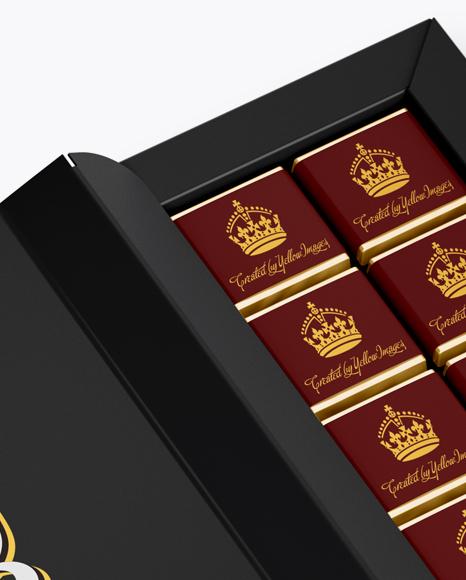 Opened Matte Chocolate Box - Half Side View