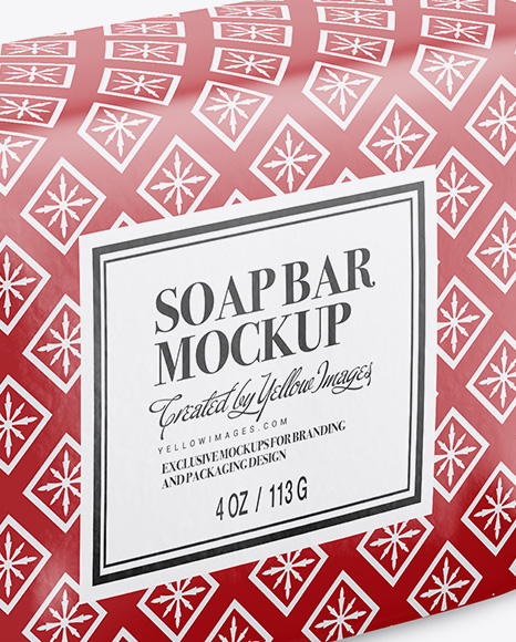 Glossy Soap Bar Package Mockup - Half Side View