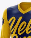Men's Soccer V-Neck Jersey LS mockup (Half Side View)