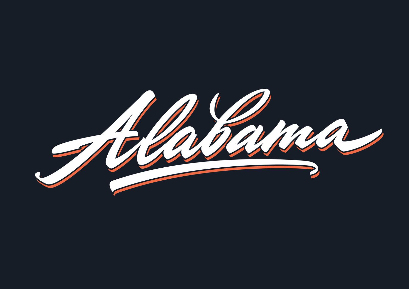 Alabama brush script vector lettering