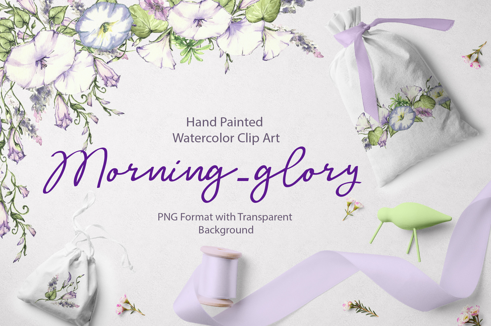 Watercolor flower Clip Art – Morning-Glory