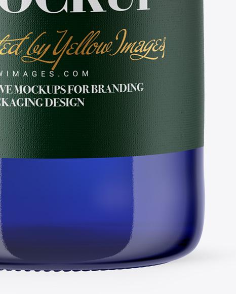 330ml Blue Glass Bottle Mockup