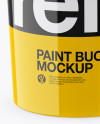 Glossy Plastic Paint Bucket Mockup (High-Angle Shot)