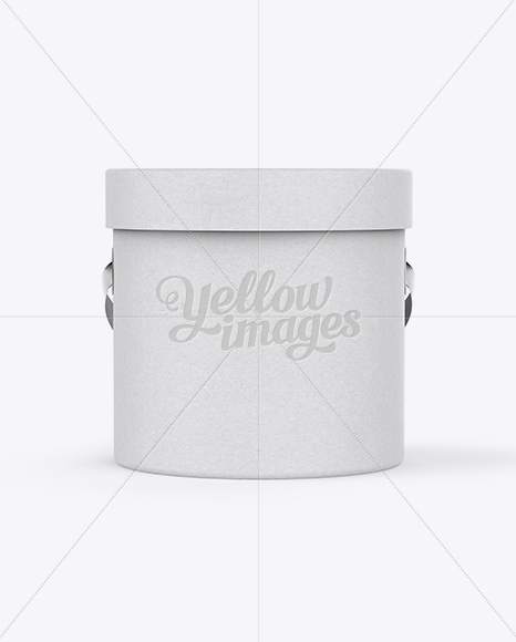 Download Round Flower Box Mockup Front View In Box Mockups On Yellow Images Object Mockups PSD Mockup Templates