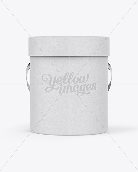 Download Round Paper Box Mockup Front View In Box Mockups On Yellow Images Object Mockups PSD Mockup Templates