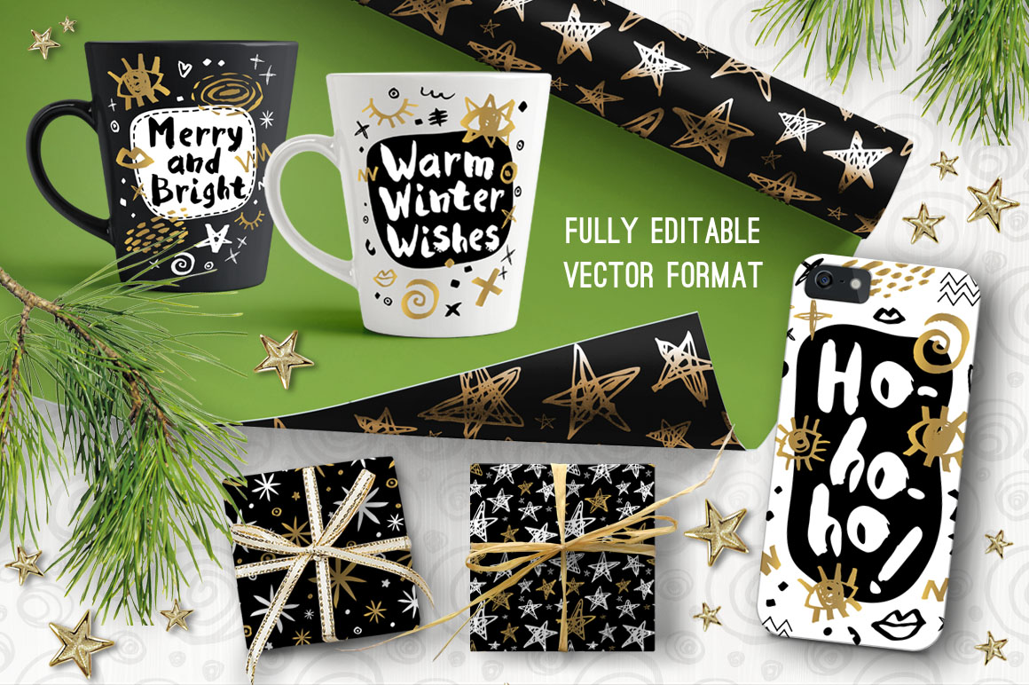 Gold, Black, White, Christmas Collection