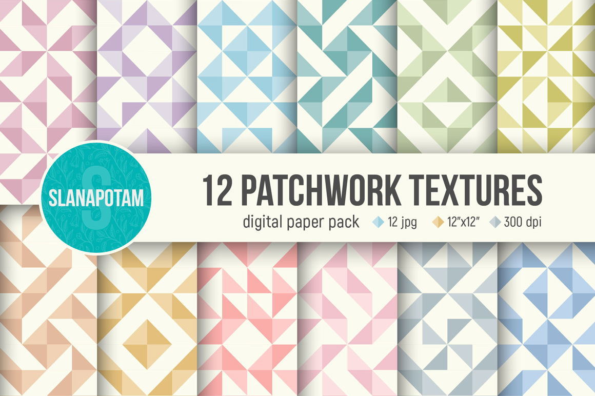 PATCHWORK digital paper pack, 12 seamless patterns