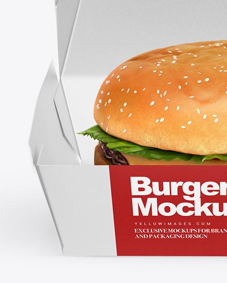 Burger Box Mockup - Front View (High-Angle Shot)