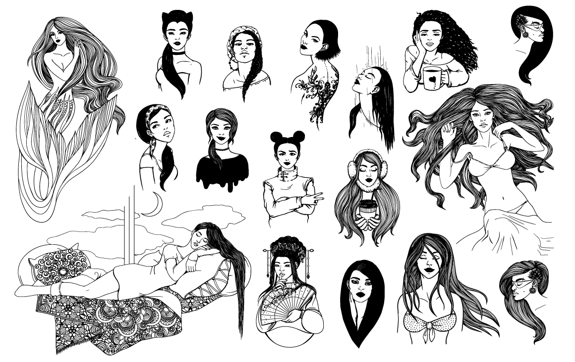 16 female portraits