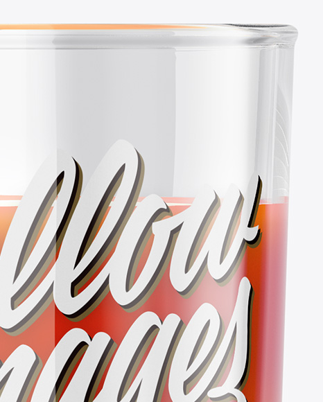 1L Carton Pack With Tomato Juice Glass Mockup - Halfside View