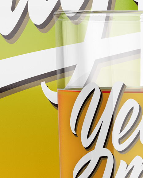 1L Carton Pack With Apple Juice Glass Mockup - Halfside View
