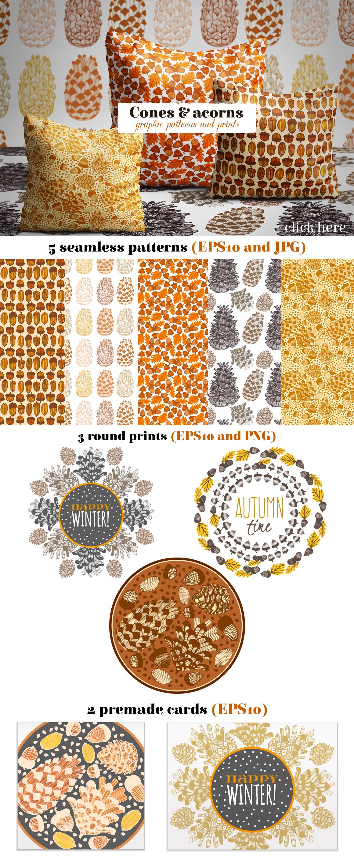 Cones & acorns graphic patterns