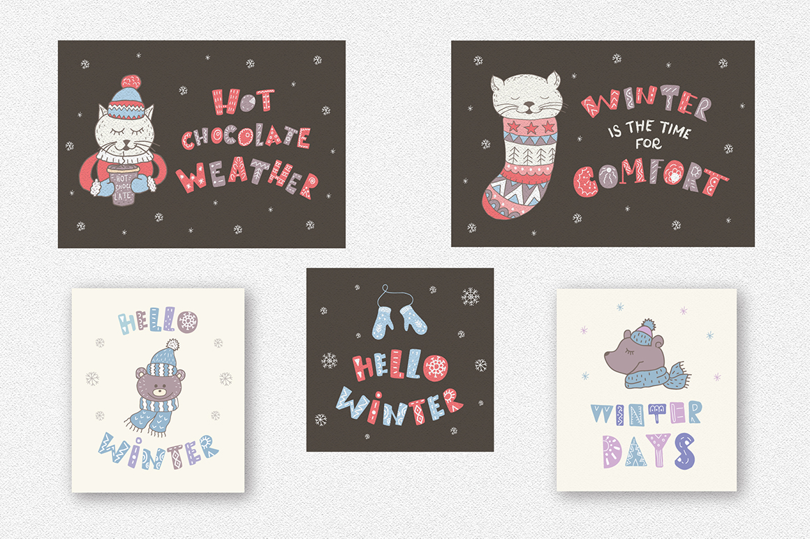 Winter quotes, animals, cards.