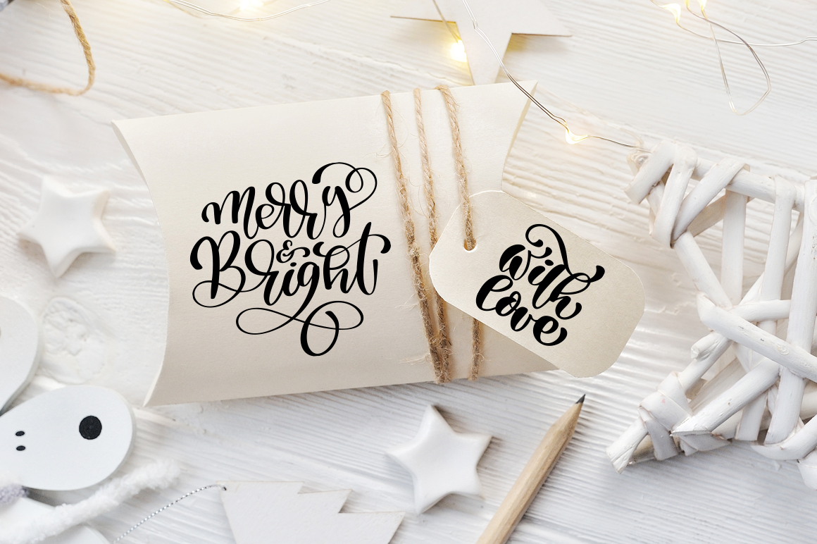 Hand Drawing Christmas Lettering and Doodle Elements