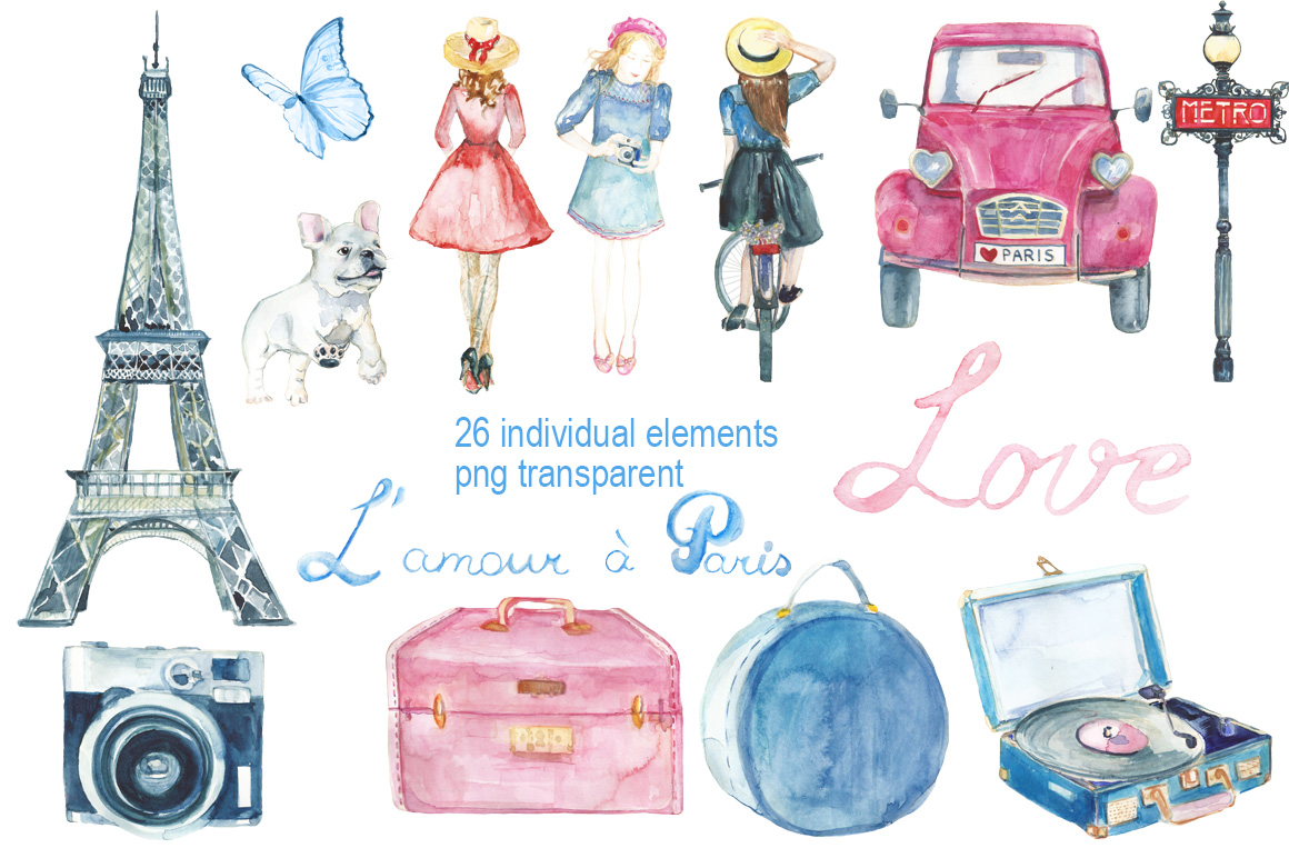 Bonjour, Paris! watercolor set