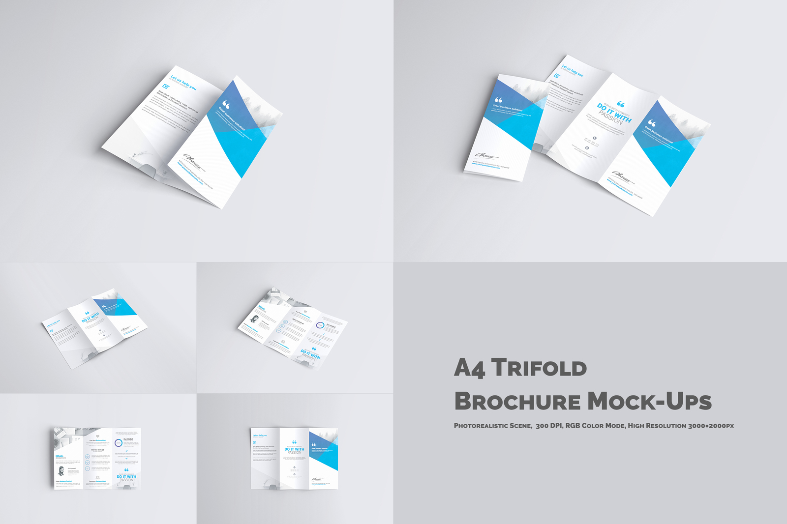 A4 Trifold Brochure Mockup In Stationery Mockups On Yellow
