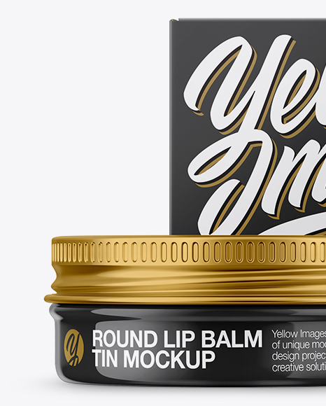Glossy Lip Balm Tin With Matte Box Mockup - Front View