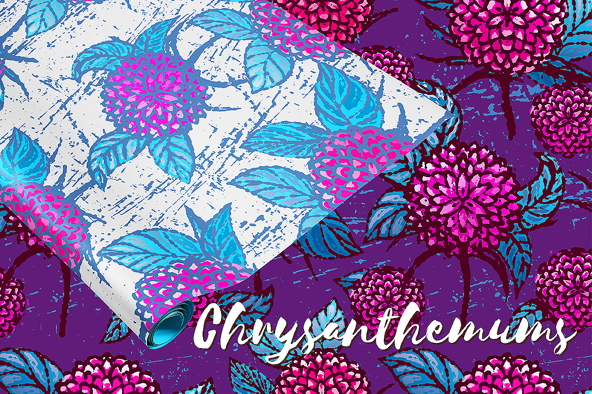 Chrysanthemums. Floral patterns