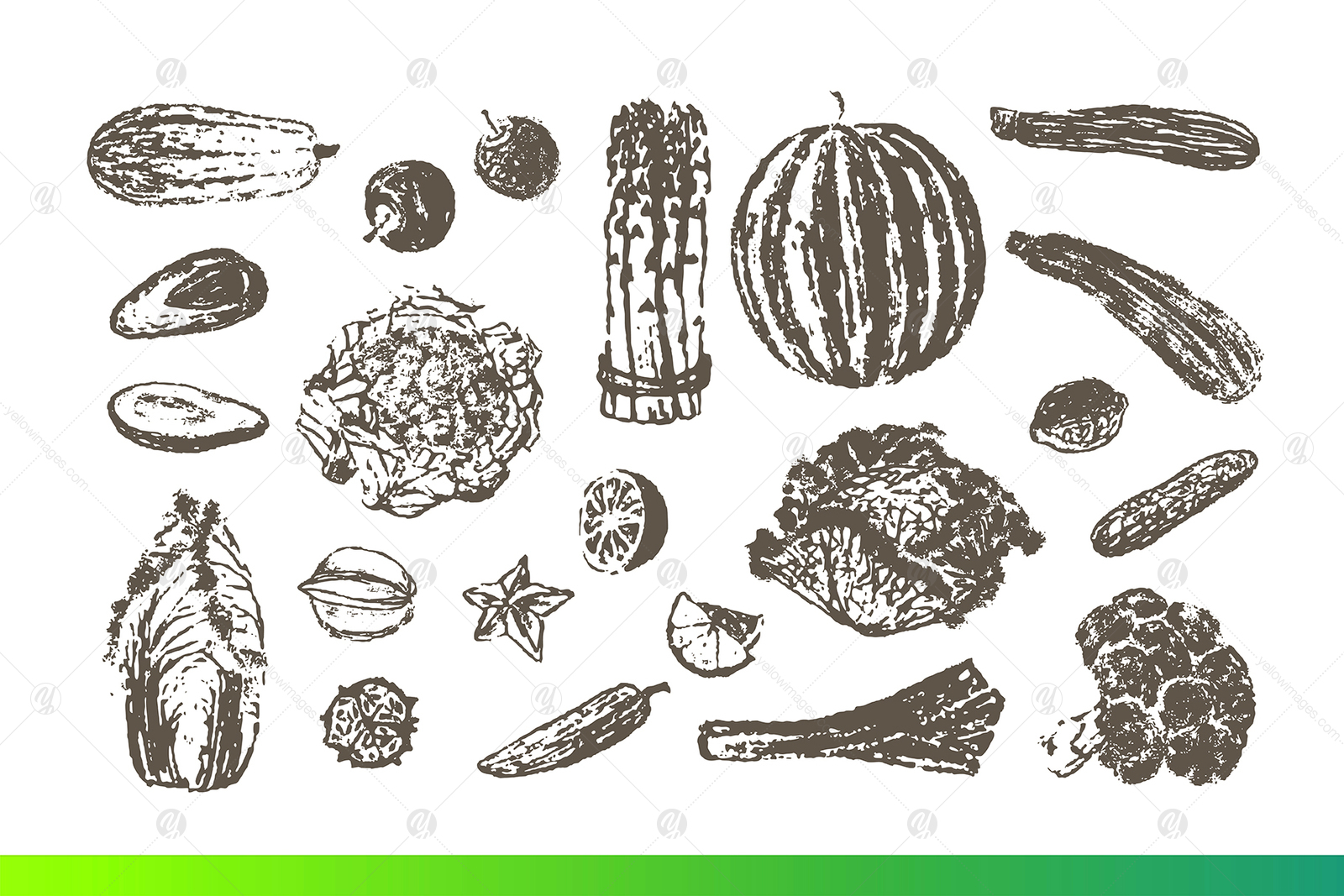 Fruits and Veggies Ink Drawings