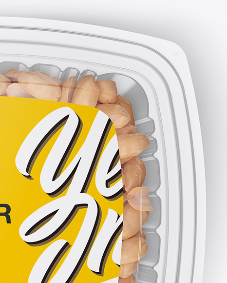Download Plastic Container Transparent Cap And Paper Label Mockup Top View PSD - Free PSD Mockup Templates