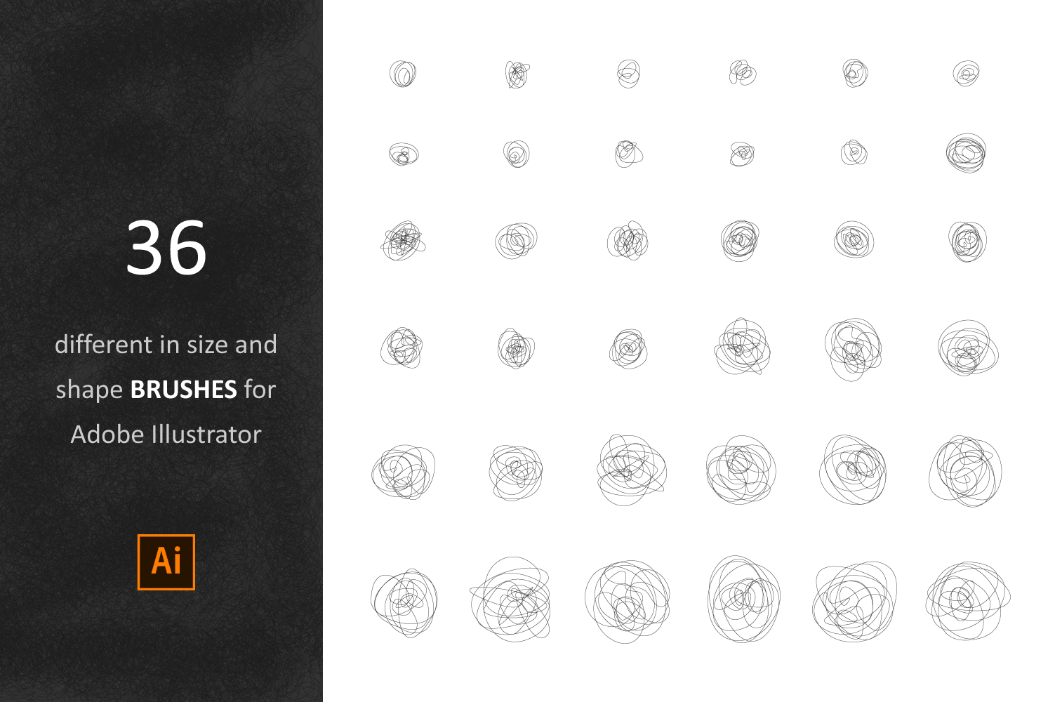 36 Tangle Brushes for Adobe Illustrator