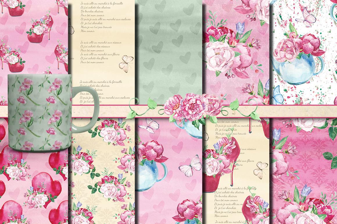 Romantic bouquet watercolor set