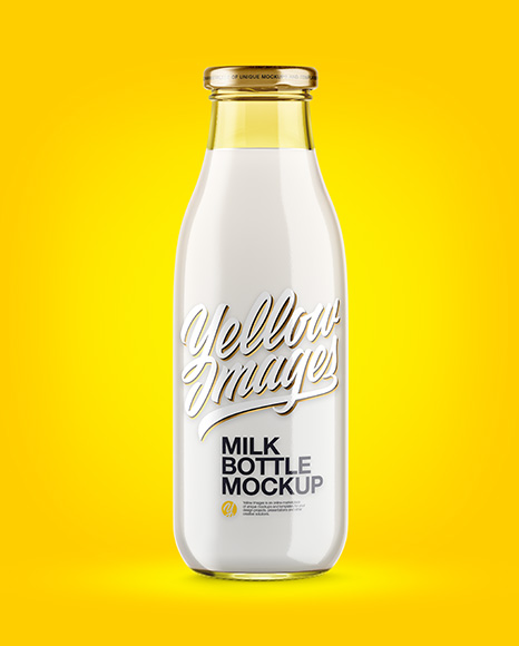 500ml Clear Glass Bottle With Milk Mockup