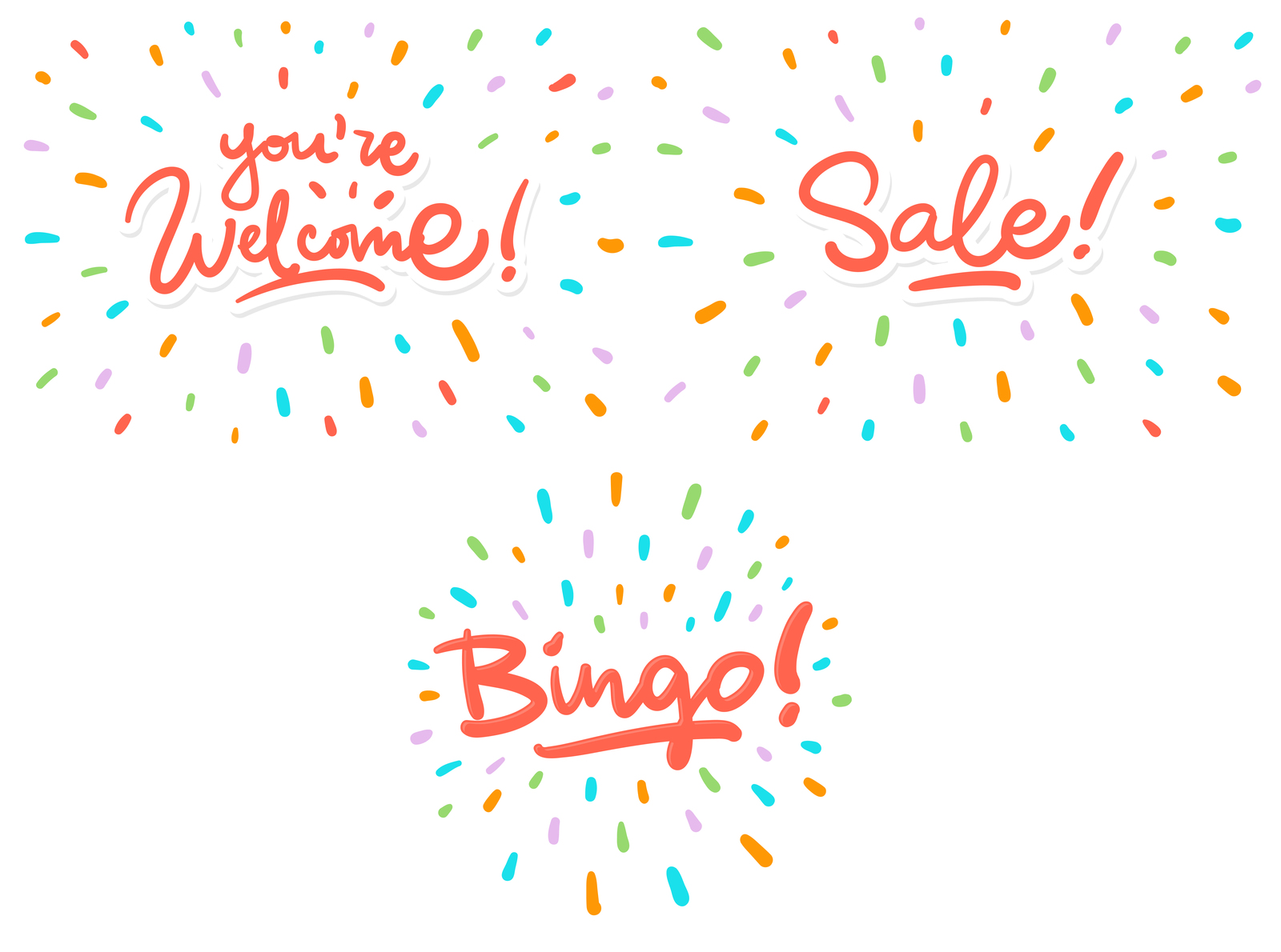 Bingo, Sale, New & Welcome lettering bundle