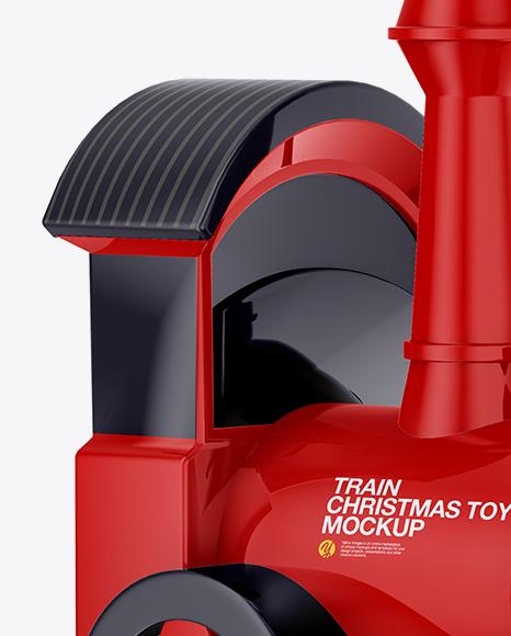 Glossy Train Christmas Toy Mockup
