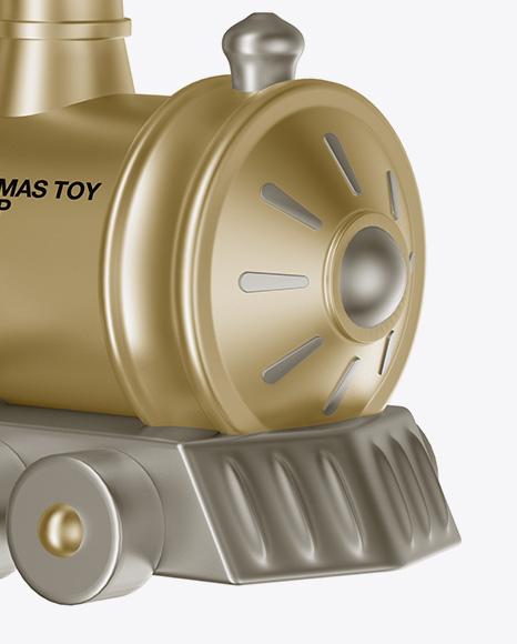 Metallic Train Christmas Toy Mockup