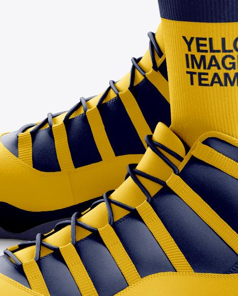 Download Basketball Kit W V Neck Mockup Half Side View Yellow Images