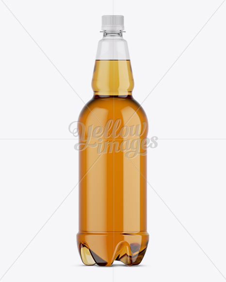 Clear Plastic Gold Beer Bottle Mockup in Bottle Mockups on