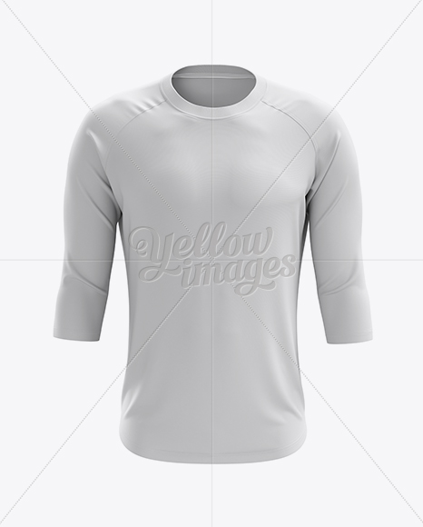Men's Baseball Tee W/ 3/4 Sleeves Mockup - Front View